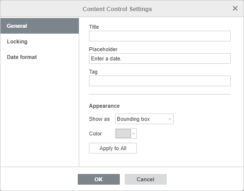 Content Control settings window - General