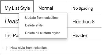 Custom style menu