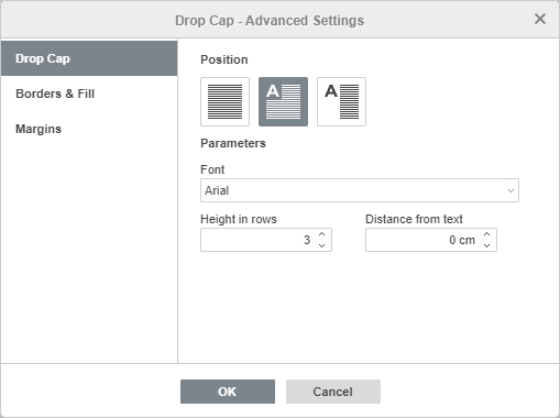 Drop Cap - Advanced Settings