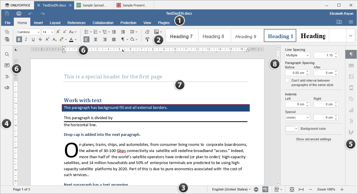 Desktop Document Editor window