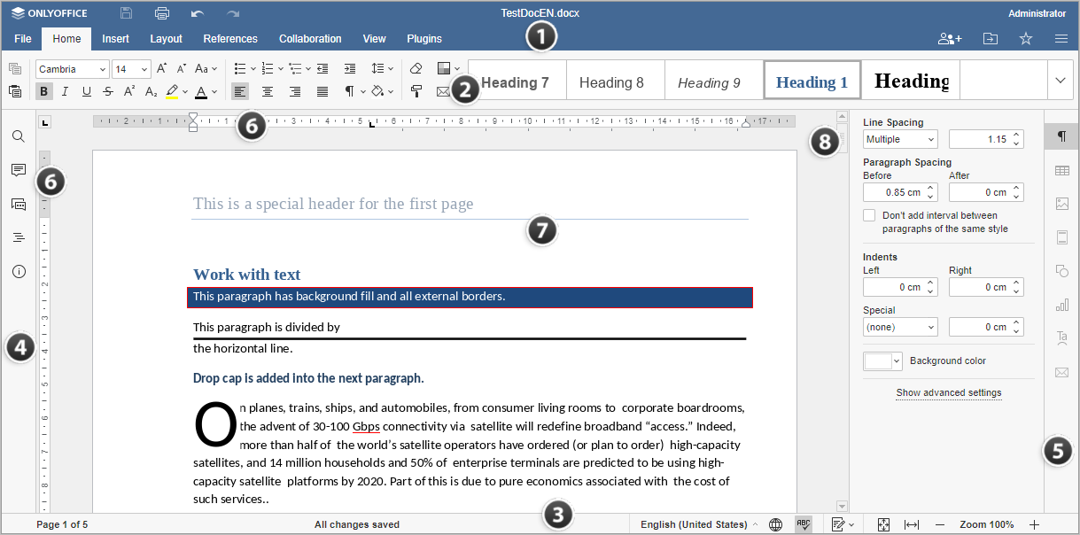 Online Document Editor window