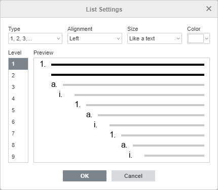 Multilevel List Settings window
