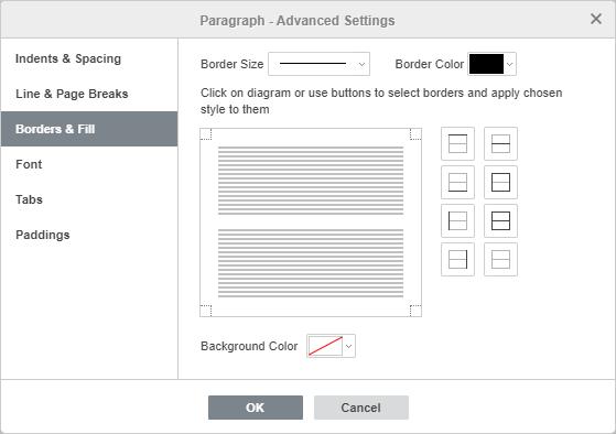 Paragraph Advanced Settings - Borders & Fill