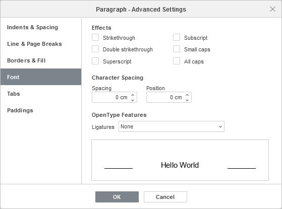 Paragraph Advanced Settings - Font