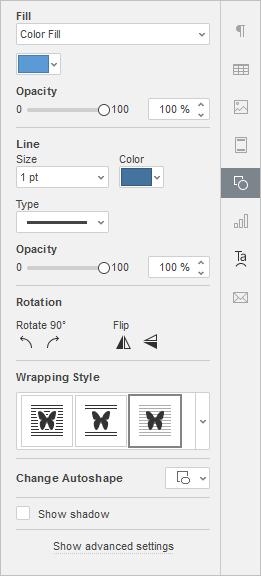 Autoshape Settings tab