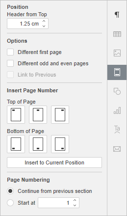 Right Sidebar - Header and Footer Settings