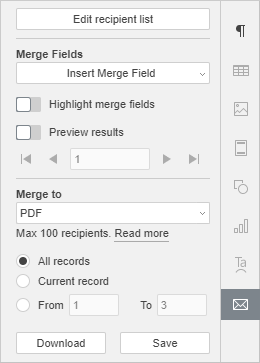 Mail Merge setting tab