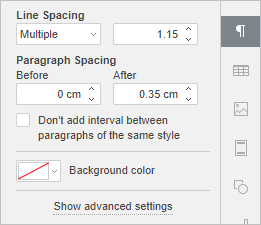 Right Sidebar - Paragraph Settings