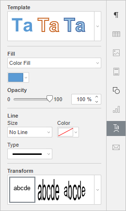 Text Art setting tab