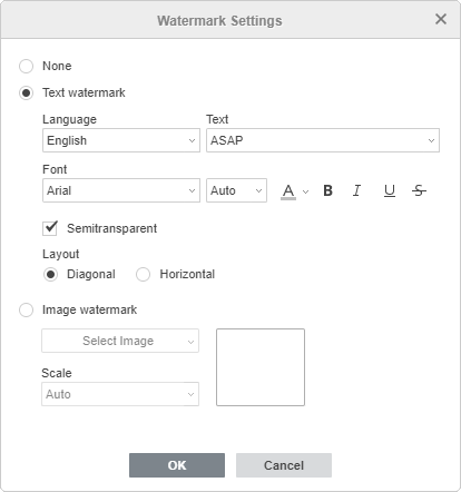 Watermark Settings window