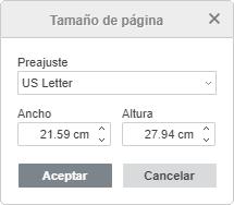 Personalizar Tamaño de página