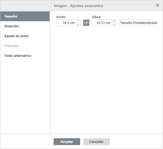 Imagen - ajustes avanzados Tamaño