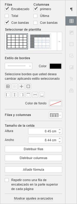 Barra derecha lateral - Ajustes de tabla