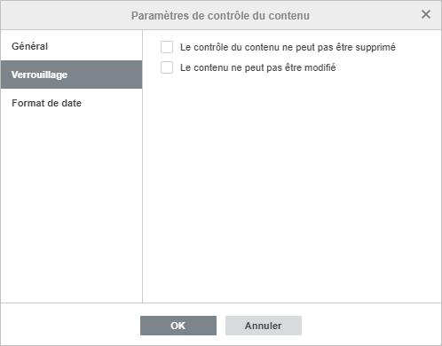 Fenêtre des Paramètres de contrôle du contenu - Verrouillage