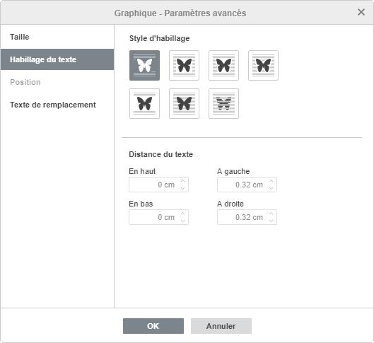 Graphique - Paramètres avancé : Habillage du texte