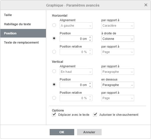 Graphique - Paramètres avancés : Position