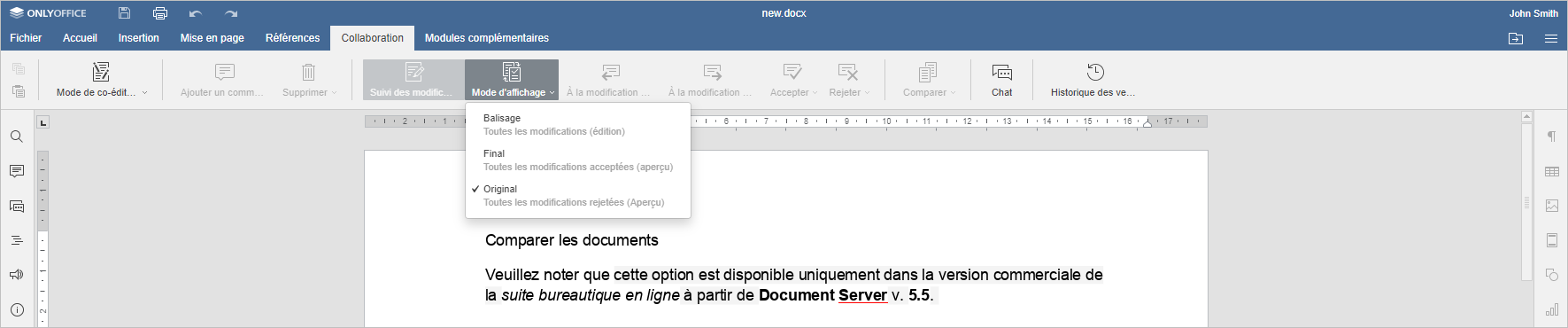 Comparer les document - Original