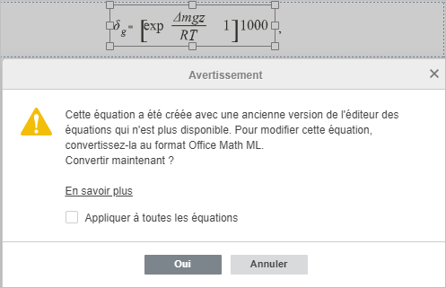 Conversion des équations