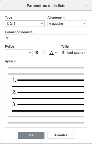 La fenêtre Paramètres de la liste numérotée