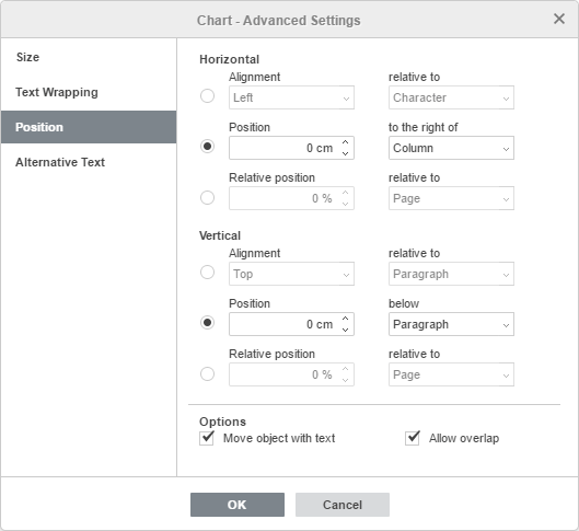 Chart - Advanced Settings: Position