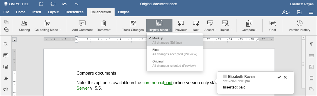 Compare documents - Markup