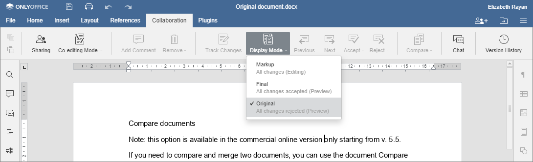 Compare documents - Original