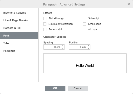 Paragraph Advanced Settings - Font
