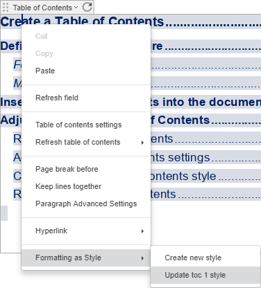 Update Table of Contents style
