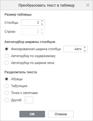 Преобразовать текст в таблицу