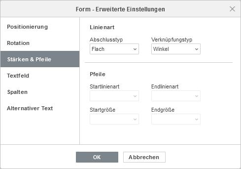 Formeigenschaften - Registerkarte Stärken & Pfeile