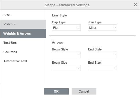 Shape Properties - Weights & Arrows tab