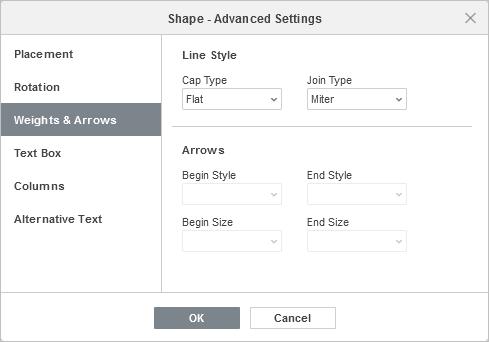 Shape Properties - Weights & Arrows tab