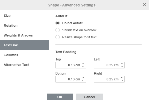 Shape Properties - Text Padding tab