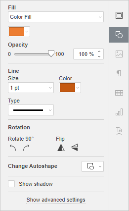 Shape settings tab
