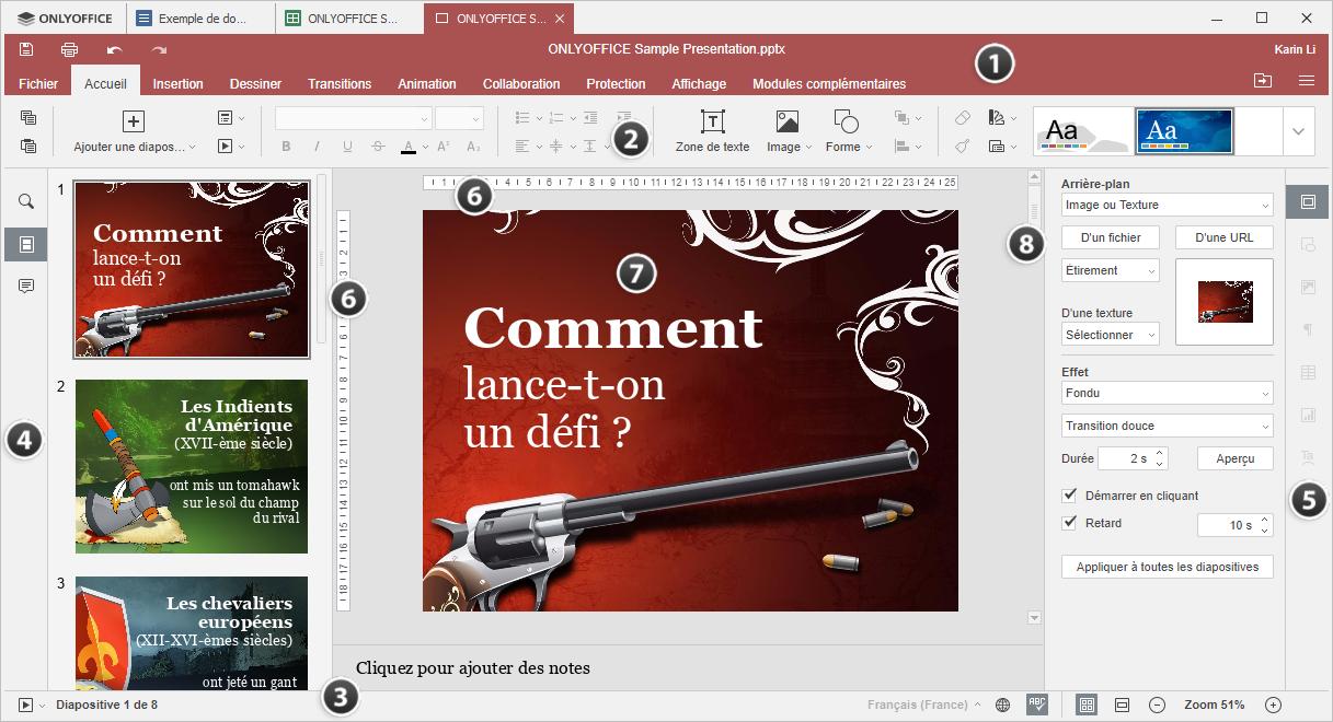 Fenêtre de l'éditeur de bureau Presentation Editor