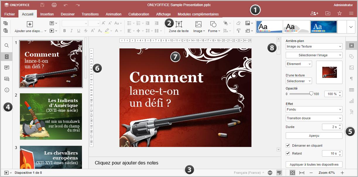 Fenêtre de l'éditeur en ligne Presentation Editor