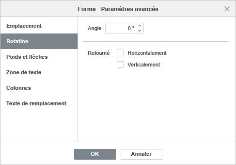Forme - Paramètres avancés