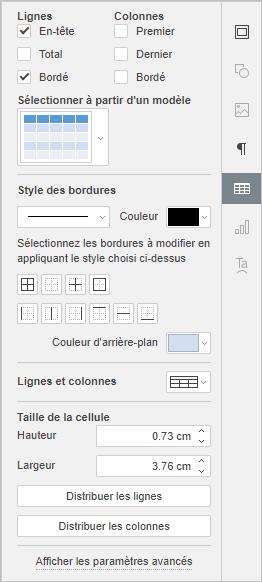 Table settings tab