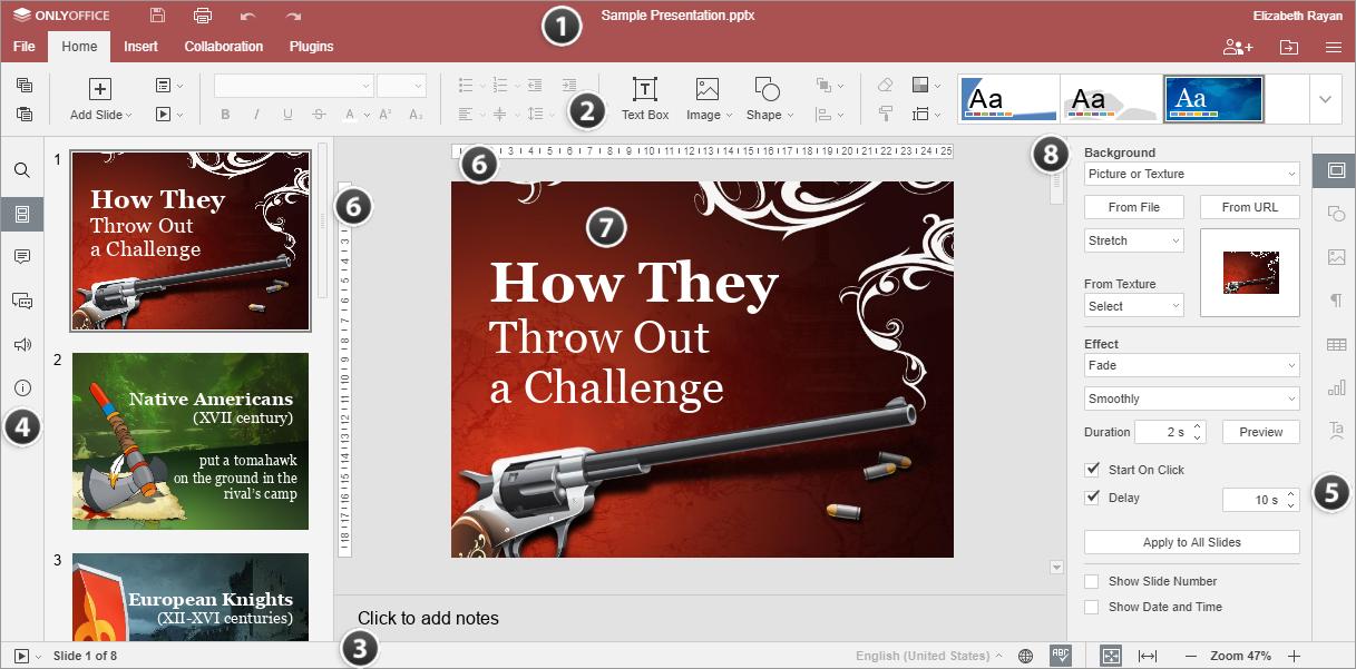 Online Presentation Editor window