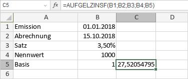AUFGELZINSF-Funktion
