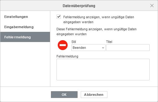 Datenueberpruefung - Fehlermeldung Einstellungen