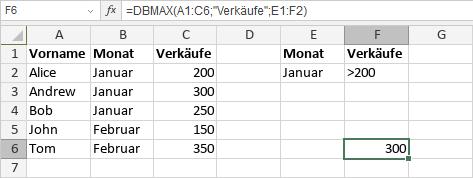 DBMAX-Funktion