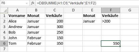 DBSUMME-Funktion