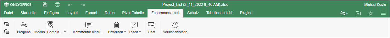 Registerkarte Zusammenarbeit