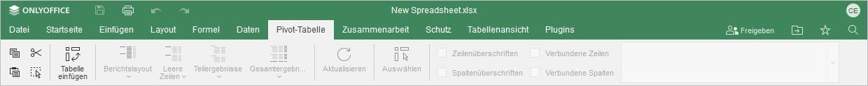 Registerkarte Pivot-Tabelle