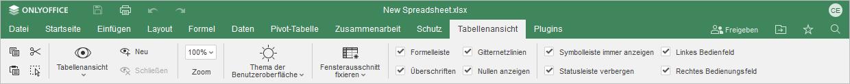 Registerkarte Tabellenansicht