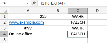 ISTKTEXT-Funktion