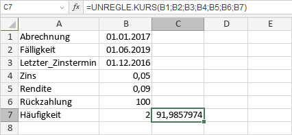 UNREGLE.KURS-Funktion