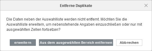 Duplikate entfernen - Warnfenster