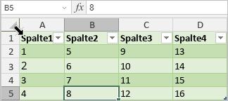 Tabelle auswählen